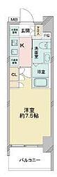 京成押上線 青砥駅 徒歩13分の賃貸マンション 6階1Kの間取り