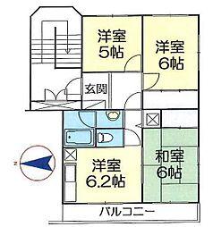 埼玉県春日部市増富の賃貸マンションの間取り