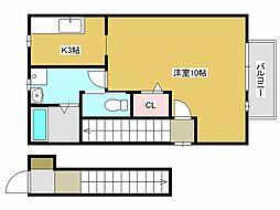 JR山陽本線 東加古川駅 徒歩3分の賃貸アパート 2階1Kの間取り