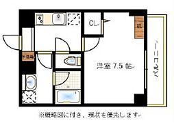 JR宇野線 大元駅 徒歩6分の賃貸マンション 9階1Kの間取り