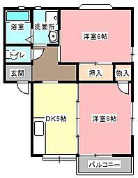 ツインハイツA[1階]の間取り