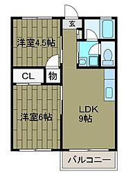 秋元ファミリーハイツ2号館[2階]の間取り