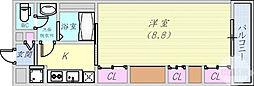 阪神本線 芦屋駅 徒歩11分の賃貸マンション 3階1Kの間取り