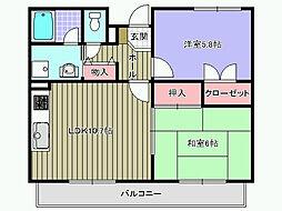 フォンターナ久米田[303号室]の間取り
