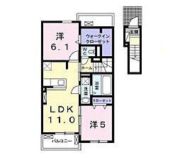 JR宇部線 東新川駅 バス11分 開下車 徒歩1分の賃貸アパート 2階2LDKの間取り