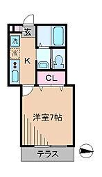 神奈川県横浜市港北区綱島西2丁目の賃貸アパートの間取り