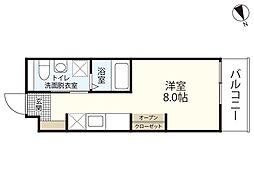 JR山陽本線 広島駅 徒歩23分の賃貸マンション 1階ワンルームの間取り