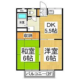 八反田ハイツA棟[1階]の間取り