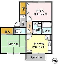 静岡県三島市若松町の賃貸アパートの間取り
