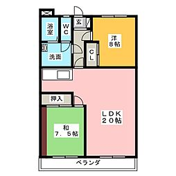 静岡県掛川市中央高町の賃貸マンションの間取り
