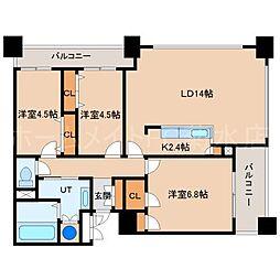 ラフィネタワー札幌南3条[17階]の間取り