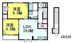 JR中央線 東小金井駅 徒歩8分の賃貸アパート 2階2LDKの間取り
