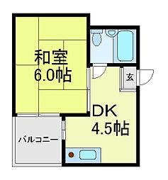 阿倍野三明マンション[2階]の間取り