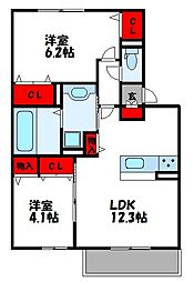 SレガシーN B棟[2階]の間取り
