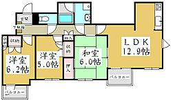 埼玉県蕨市塚越5丁目の賃貸マンションの間取り