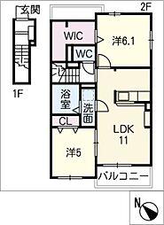 水明郭 B[2階]の間取り