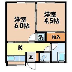 竹田アパート[103号室]の間取り