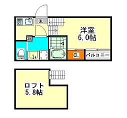 愛知県名古屋市中川区十一番町1丁目の賃貸アパートの間取り