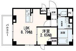 仙台市営南北線 勾当台公園駅 徒歩13分の賃貸マンション 3階1LDKの間取り