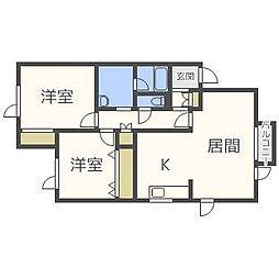 北海道札幌市東区伏古十条4丁目の賃貸アパートの間取り