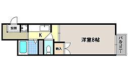 京都府京都市左京区上高野古川町の賃貸アパートの間取り