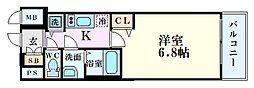 プレサンス立売堀パークシティ 7階1Kの間取り