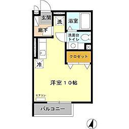 小田急多摩線 小田急多摩センター駅 徒歩8分の賃貸アパート 2階1Kの間取り