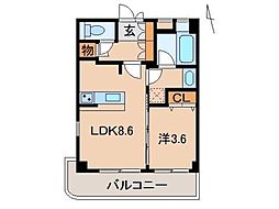 レスペート西庄VII 3階1LDKの間取り