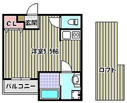 大阪府堺市西区鳳中町6丁の賃貸アパートの間取り