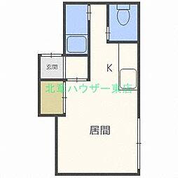 北海道札幌市東区北三十七条東4丁目の賃貸アパートの間取り