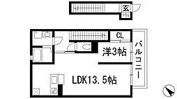 兵庫県伊丹市池尻6丁目の賃貸アパートの間取り