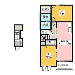 フレグラントB[2階]の間取り