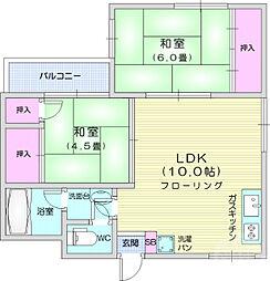 メゾンディケム 3階2LDKの間取り