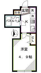 JR総武線 東中野駅 徒歩7分の賃貸マンション 1階1Kの間取り