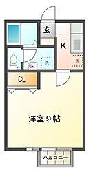 千葉県市原市山田の賃貸アパートの間取り