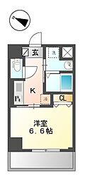 クレストコート 神楽坂 4階1Kの間取り