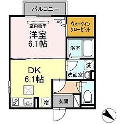 アイリス 1階1DKの間取り