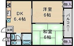 Osaka Metro今里筋線 清水駅 徒歩4分の賃貸マンション 3階2DKの間取り