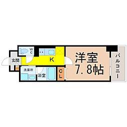 名古屋市営鶴舞線 浅間町駅 徒歩8分の賃貸マンション 11階1Kの間取り