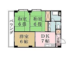 レジデンス澤田[206号室]の間取り