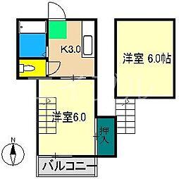 プレステージ仲田[4階]の間取り