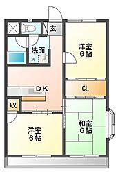 第2グリーンハウス中里[1階]の間取り