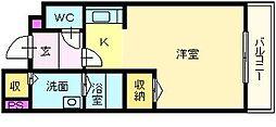 大阪府堺市北区蔵前町2丁の賃貸アパートの間取り