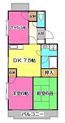 埼玉県所沢市東所沢和田1丁目の賃貸マンションの間取り