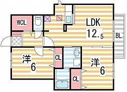 カルムエスターテII[1階]の間取り