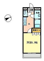群馬県太田市富沢町の賃貸アパートの間取り