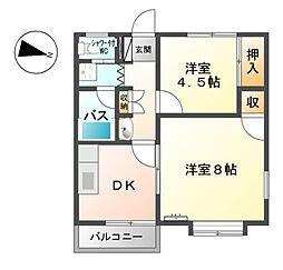 長野県東御市祢津の賃貸アパートの間取り