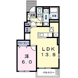千葉県茂原市東部台2の賃貸アパートの間取り
