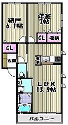 モンスティル津久野[2階]の間取り