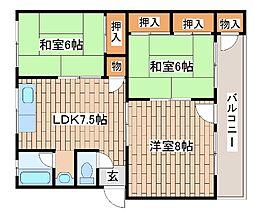 兵庫県神戸市中央区中島通4丁目の賃貸マンションの間取り